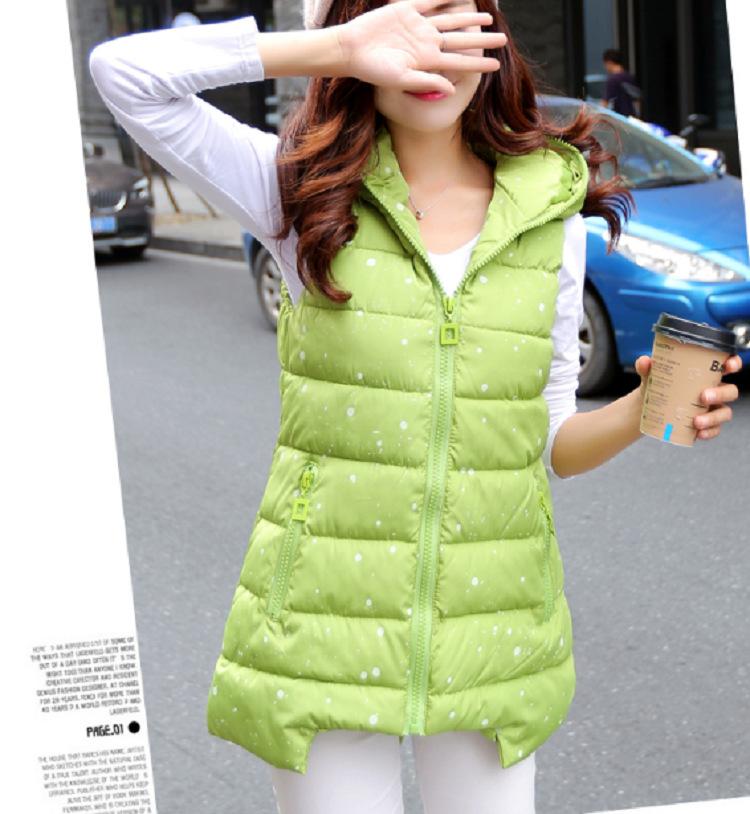 2015 Winter New Korean Slim Dot Hooded Vest Fashion Wild Cotton Jacket W0331