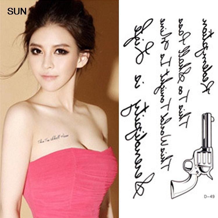 Étanche tatouage temporaire autocollants lettres Gun Designs Body Art faux tatouage femmes Sexy poitrine de tatouage de transfert de l'eau autocollants(China (Mainland))