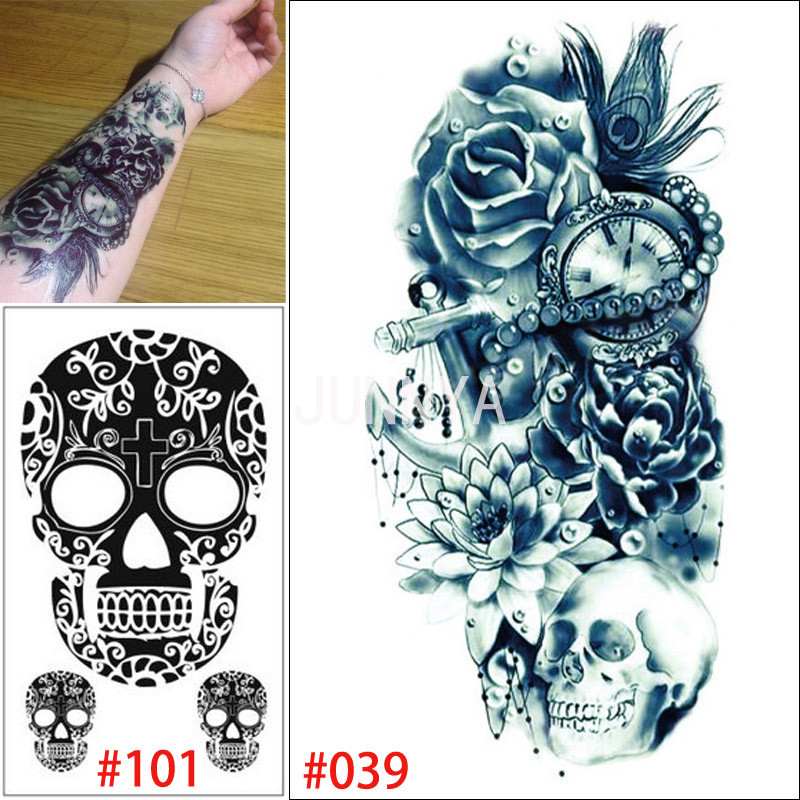 Wholesale 19x12cm temporary tattoo flower rose tatto clock for Wholesale temporary tattoos
