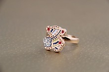 Wholesale Color the bear and Rhine stone ring Charm Cute Girls Ring  Kids Jewelry Titanium Accessory Women gift