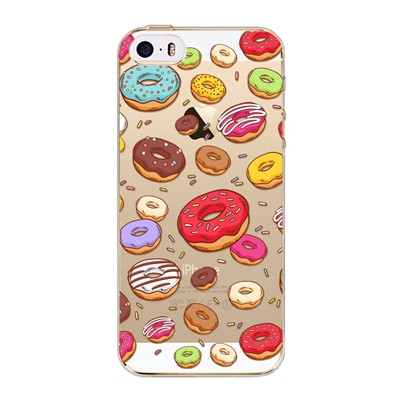 For iPhone 5C Cute Phone case Sweet Ice Cream Pizza Donuts Dessert Macarons Patterns Clear Soft TPU Case Cover Capa Coque