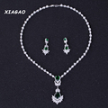 XIAGAO Elegant CZ Jewelry White Gold Plated Red Blue Crystal Long Flower Drop Earrings And Necklace