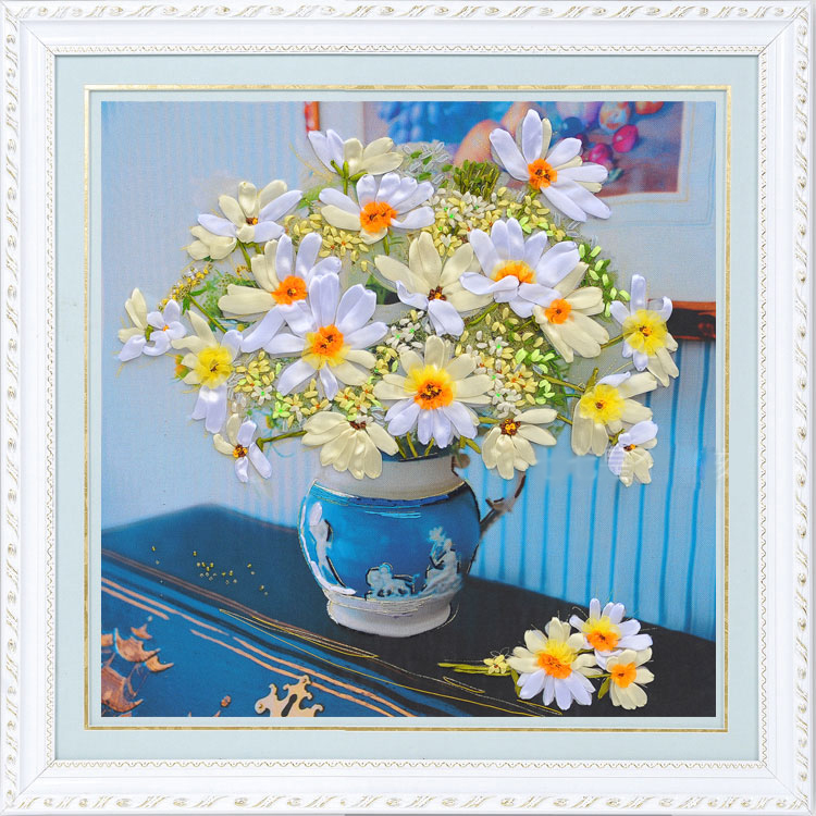Color Printing Three-Dimensional Embroidery 3D Ribbon Embroidery kit Needlework Little Daisy DIY HandMade Home Decor(China (Mainland))