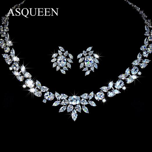 Здесь можно купить  UMODE Brand Luxury Wedding Poem of Spring Jewelry Sets White Gold Plated Top Quality CZ Diamonds Necklaces Earrings Set AUS0010  Ювелирные изделия и часы
