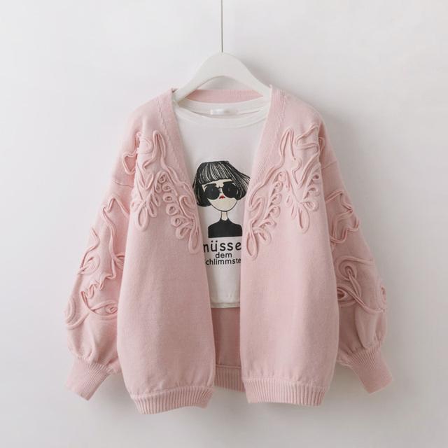 Короткие дизайн кардиган женский 3D декоративные теплый вязать свитера 2016 Корейский ...