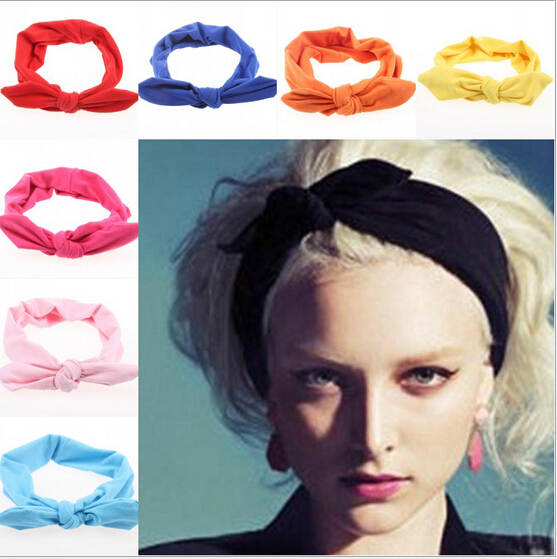 2015 korean boutique rabbit bunny ears top knotted twist headbands for women adult infant girls baby head wraps hair band turban(China (Mainland))