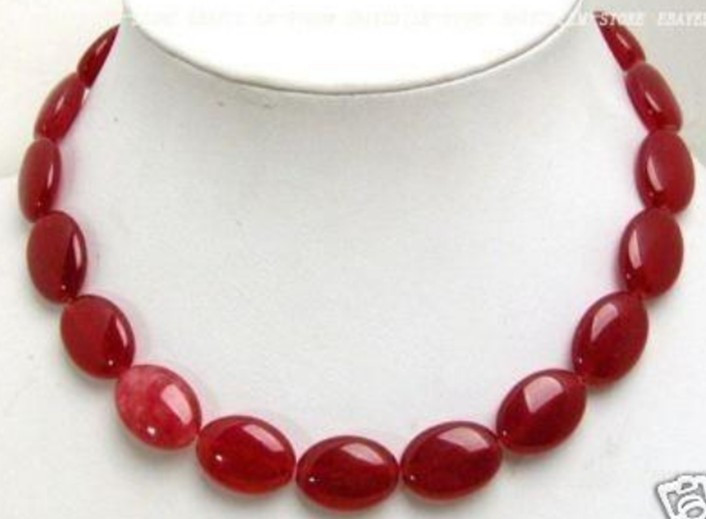 Discount new fashion necklaces for women 2015 vintages 13x18mm Red Ruby oval Jade Necklace 17'' AAA Wholesale and retail(China (Mainland))