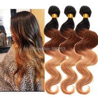 3 Bundles 7A Three Tone Ombre Body Wave Virgin Brazilian Human Hair Bundles Extensions In Stock