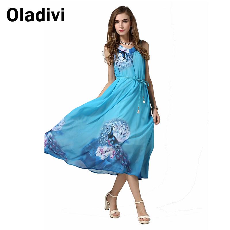 Fashion Printed Maxi Long Chiffon Dresses 2016 European Summer Women Sleeveless Halter Bohemian Beach dresses Vestidos Femininos - Oladivi official store