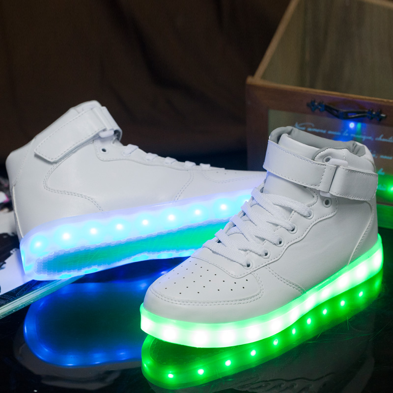 Plus Size 36-46 Fashion Colorful Men LED Luminous Shoes USB Charging High Top Women Casual Glowing Shoes Light Up Shoes Adults