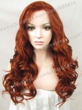 Retail/Wholesale Promotion N7-350 24inch/60cm Fashion Water  Wavy  Auburn Color  Synthetic  Lace Front Wigs
