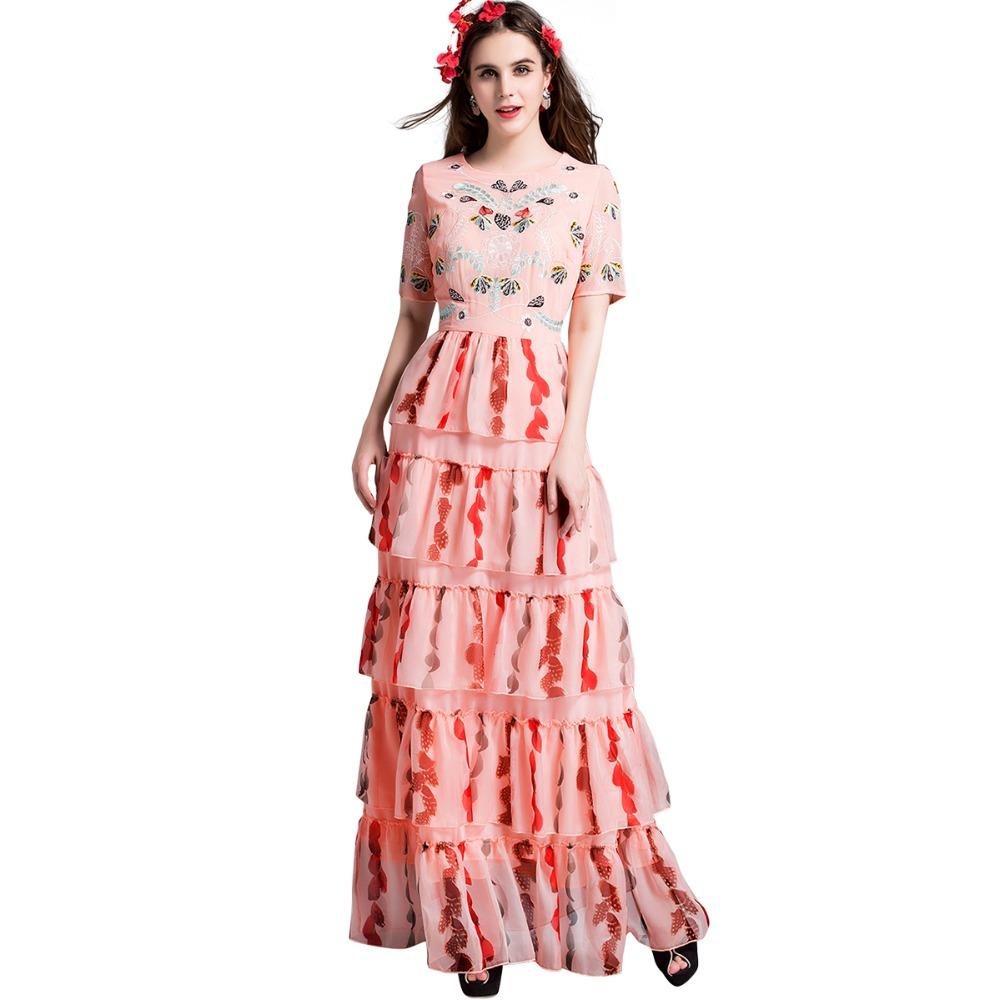 2016 Summer Runway Maxi Dresses Brand Design Women Short Sleeve Floral Embroidery Pink Long Dress Vestidos Longo 2750(China (Mainland))