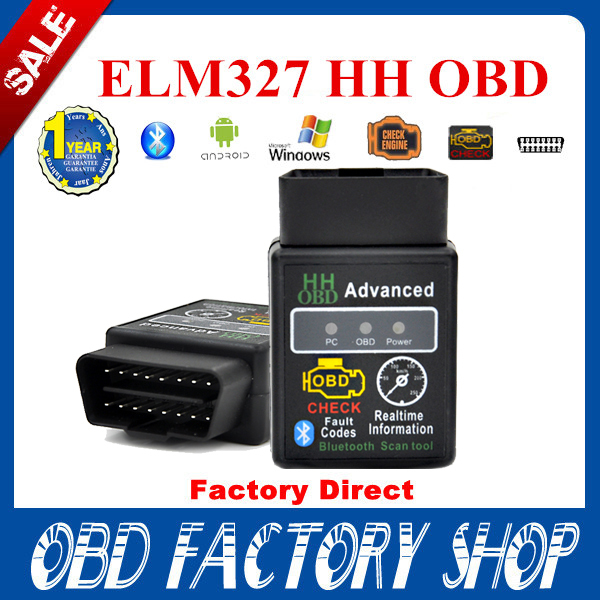 For Android Windows New SUPER MINI ELM327 HHOBD Bluetooth OBD2 V2.1 Black Smart Car Diagnostic Tool(China (Mainland))