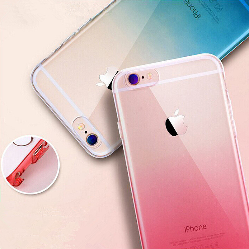 Transparent Color Transitional Case for iPhone 6 6Plus 6s Plus Protective Shell TPU Soft Anti-knock Dust Plug Mobile Phone Bag(China (Mainland))