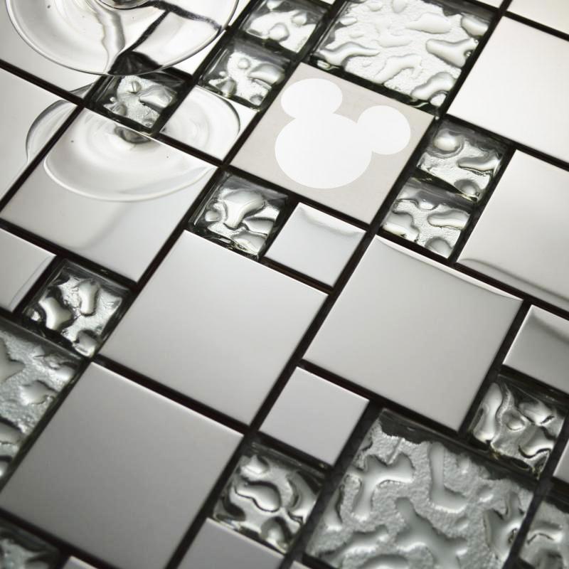 Glass mosaic tiles random mickey mouse pattern silver - Mirror mosaic tile backsplash ...