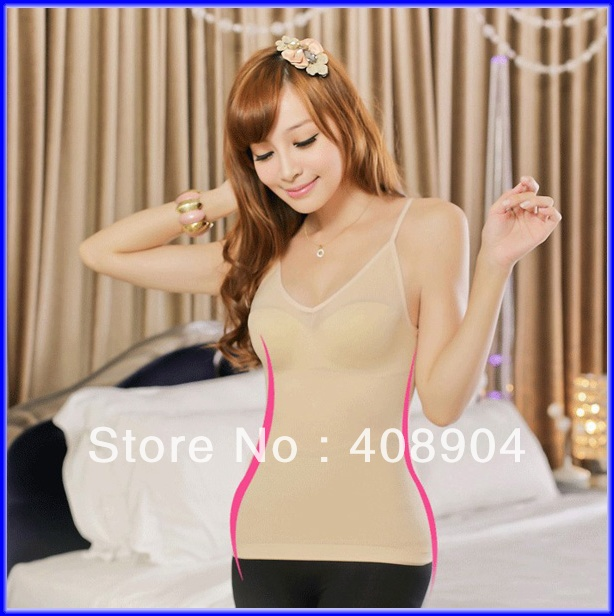200pcs/lot women Slimming Camisole Shaper body make cami black/beige color(OPP bag)(China (Mainland))