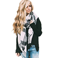 Fashion White Black Plaid Scarf Cashmere Pashmina Designer Blanket Brand Shawl Thicken Handkerchief Soft Winter Hijab
