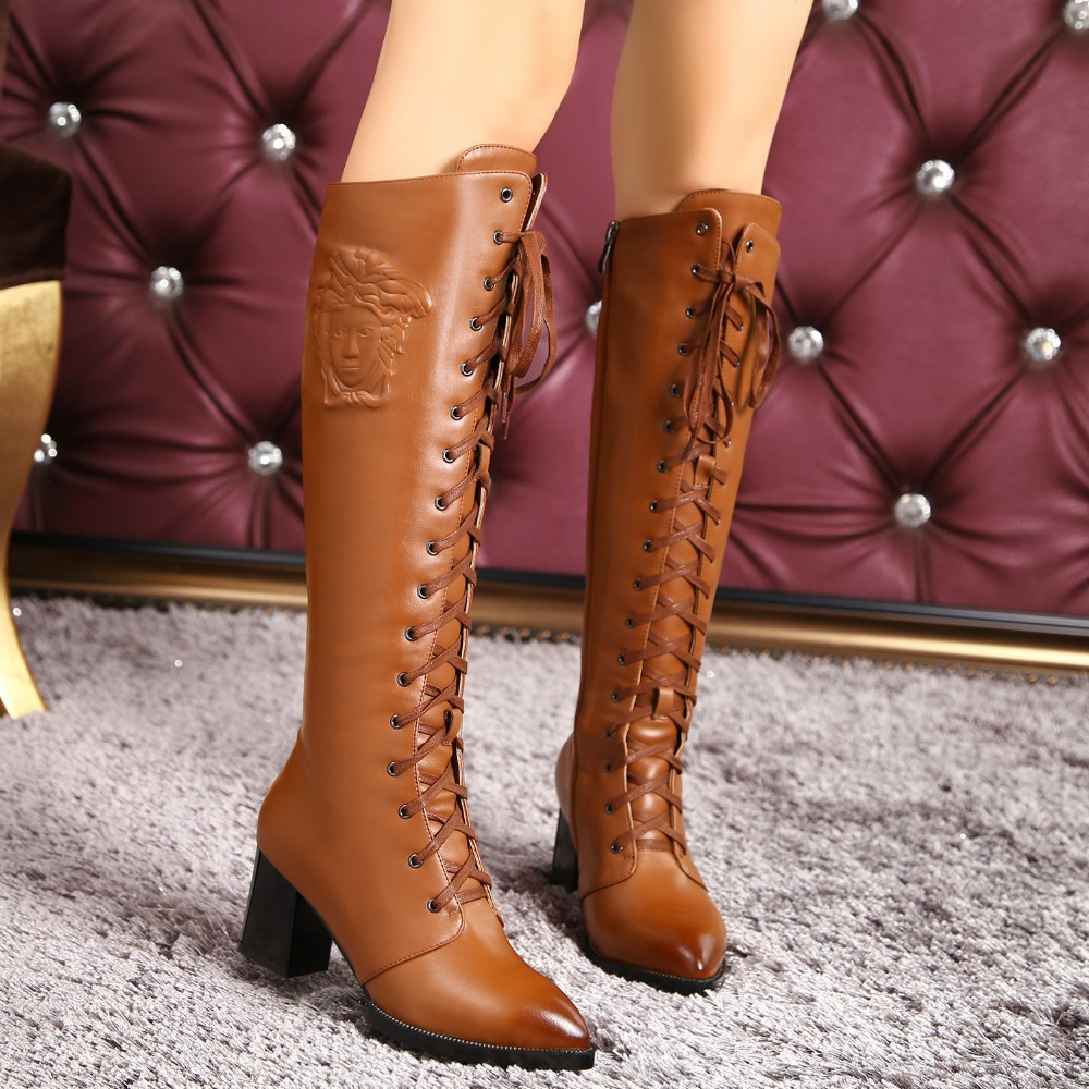 Plus sizes Women boots European motorcycle boots Knee High Long Boots Ladies Sexy Square High Heels boots Casual Shoes D150200