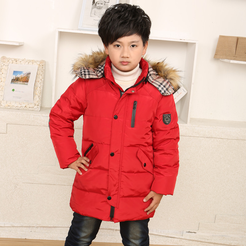 New 2015 Boys Winter Coat Thick Warm Boys Winter Jacket Hooded Parkas Down Coats & Jackets For Children Casual(China (Mainland))