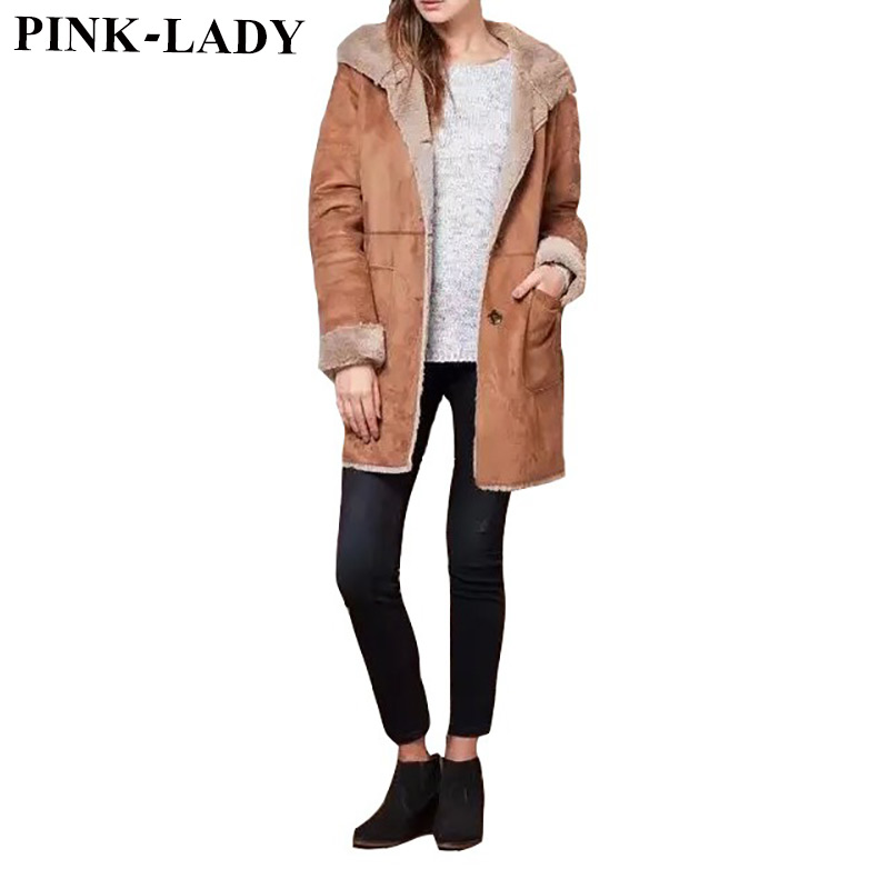 2015 Femae Winter Clothing Women's Hooded Faux Suede Long Jackets Coats Thick Fur Lined Overcoat Warm Parkas Outerwear 8174