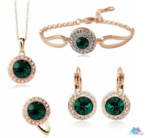 18K Gold Plated Rhinestone Crystal Romantic Moon Crystal Weddings Jewelry Sets Wholesales Fashion Jewelry for women Y4335(China (Mainland))