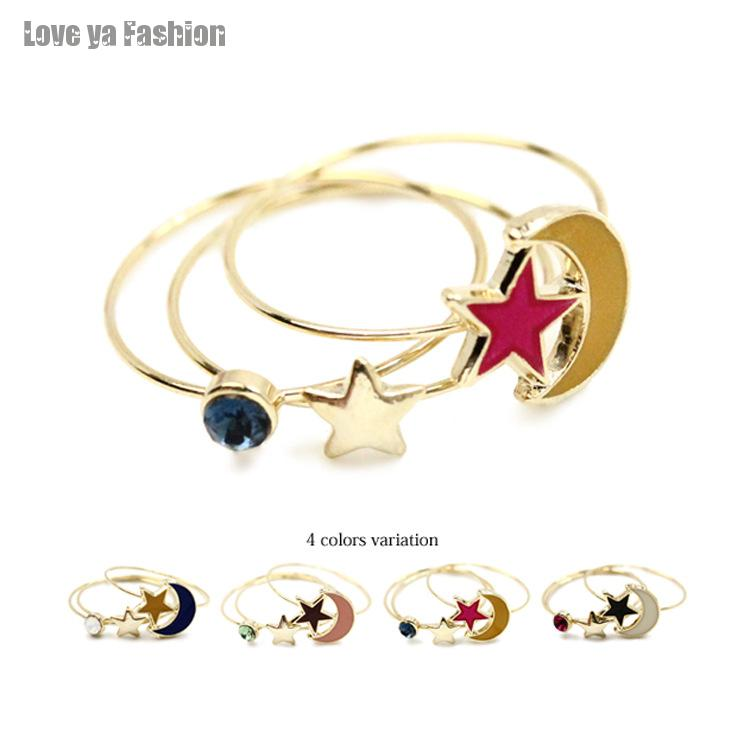 American Hot Selling Jewelry Wholesale In Japanese Style Oil Painting Moon And Star Gem 3pcs Ring Set Free Shipping Joint Rings(China (Mainland))