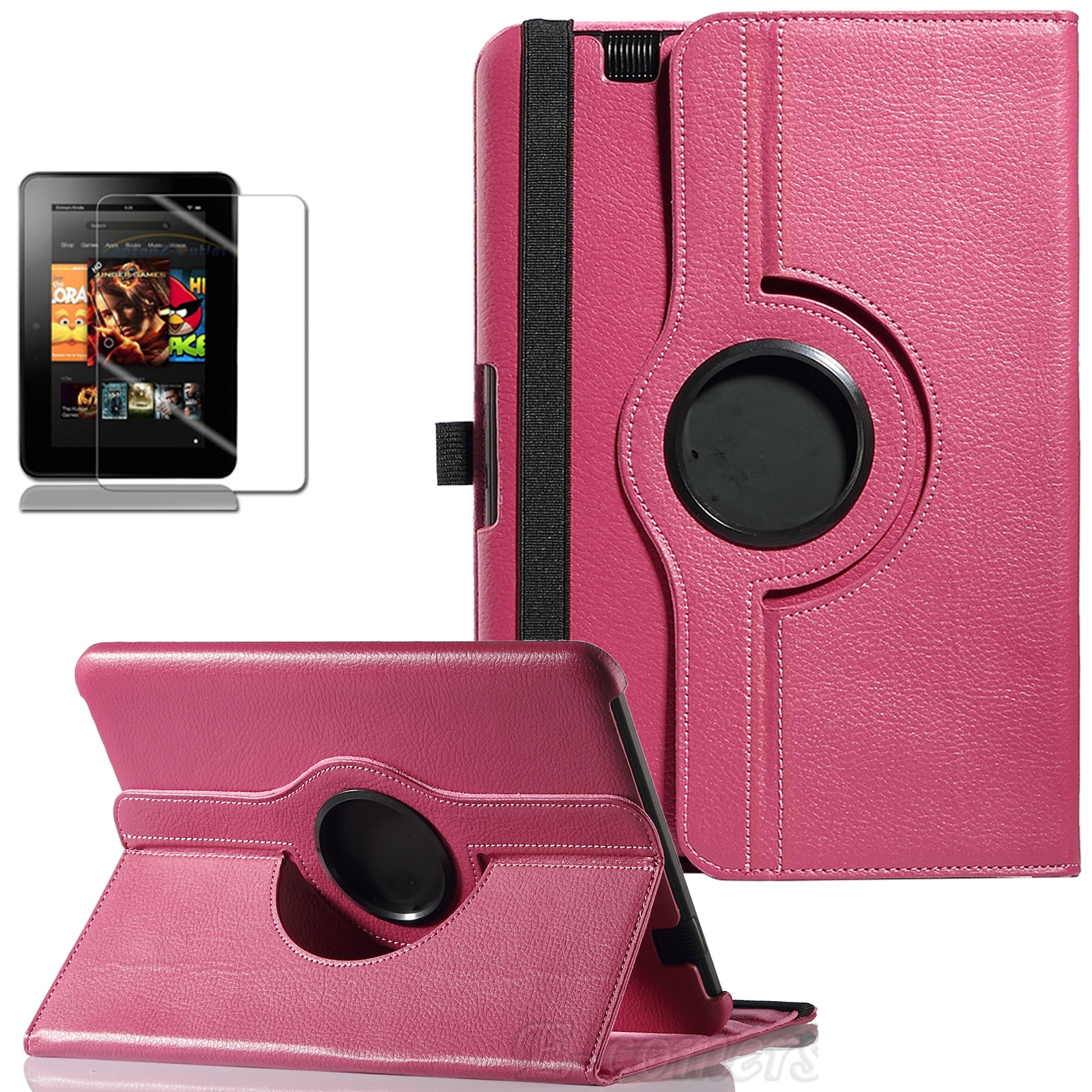 ULAK 360 Rotating PU Leather Case Cover for Kindle Fire HD 8.9 Inch with Smart Cover Auto Wake/Sleep Feature(China (Mainland))