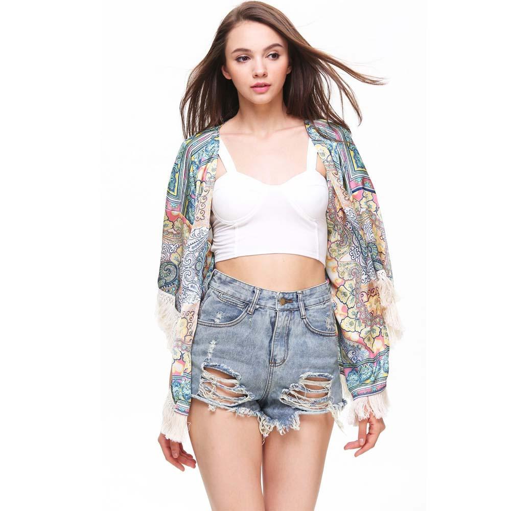 Shirt design ladies 2015 - 2015 Fashion Ladies Spring Summer Plus Size Blouses Multicolor Geometric Print Tassel Rate Hem Kimono Designer