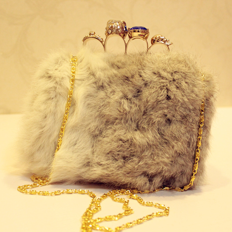 2014 Promotion Unisex Solid Bolsa Feminina Bag Ladies Bolsa Luxury Fur Rabbit Plush Dinner Bag Hand Chain Crossbody New Winter(China (Mainland))