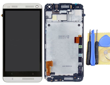 LCD Display Digitizer Touch Screen For HTC One M7 + Frame Full Assembly Silver+Tool