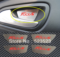 Free Ship for FORD FOCUS 2012  Interior DOOR HANDLE BOWL CUP COVERs Decals Sticker Trim w/ Noctilucent Function 1pcs- Red