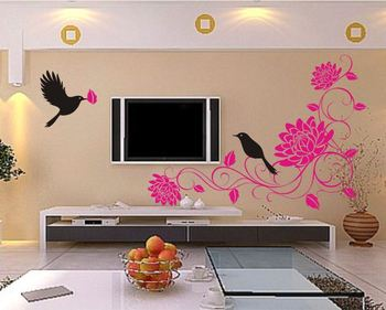 MUDAN Birds Flower Vine Removable Vinyl Art Wall Sticker DIY 3D House Decoration Decals Quote Dining Room Decor Fashion