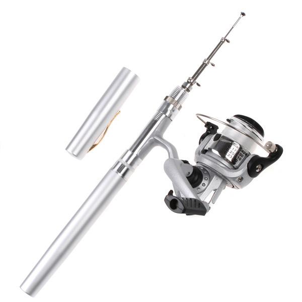 Mini Aluminum alloy Pocket Pen Fishing Rod Fishing Pole + Fishing Reel Pesca Fishing Tackle Set Wholesale(China (Mainland))