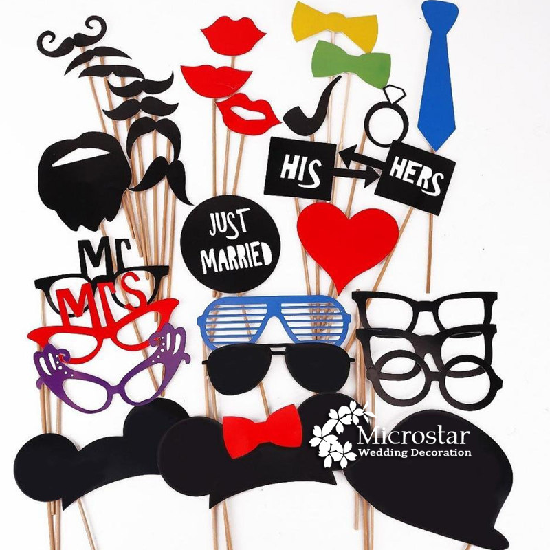 Wedding Supplies 31Pcs/Lot DIY Photo Booth Props Mask Glasses Mustache Lip on A Stick Wedding Birthday Party Fun Favor(China (Mainland))