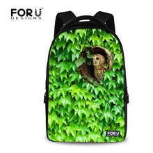 Buy Cute Animal Zoo Backpack Owl Green Plant Print School Backpack Teenager Girls Laptop Bagpack 17 Inch Large Travel Rucksack for $34.99 in AliExpress store