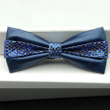 2016 Trendy Monochrome High Quality Bowties Korean Fashion Banquet Wedding Men Bow Tie PU Leather Bow Ties Mens Suit Accessories