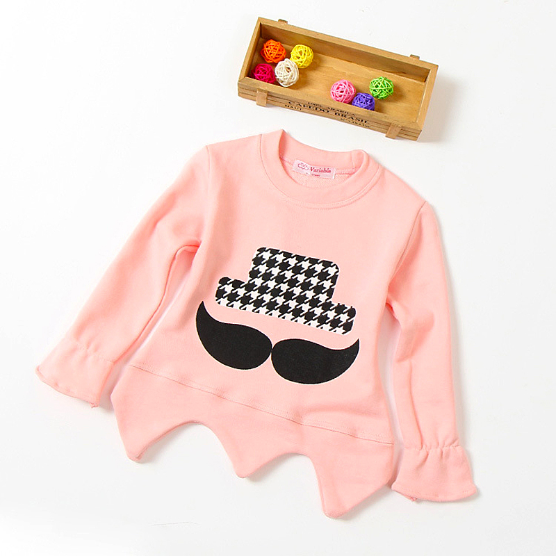 2015 autumn kids Solid Colors moustache hoodies T shirt,Children girls cute butterfly long sleeves Sweatshirts clothing costume(China (Mainland))