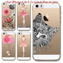 Телефон чехол для iPhone 4 4S, 5 5S 6, 6 s 6 s плюс мягкие TPU прозрачный очаровательная девушка задняя крышка силиконовый гель чехол