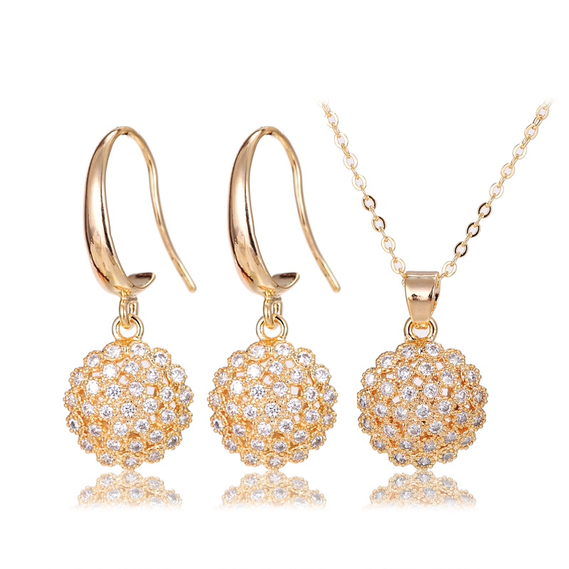 Luxury shining zircon crystal 22k gold jewellery in dubai elegant jewelleries sets vogue jewellers wedding necklace earring set(China (Mainland))