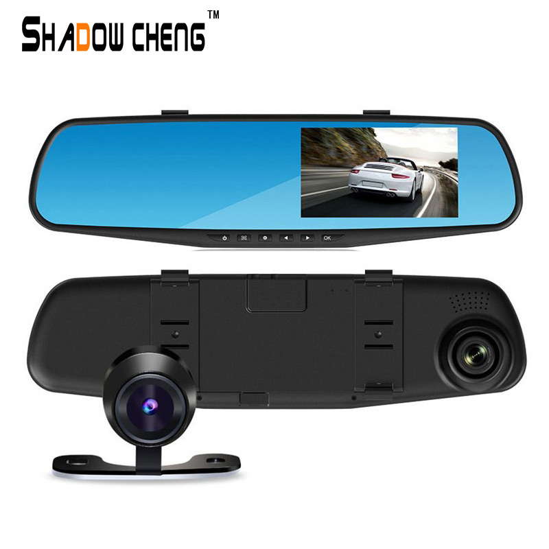"Full HD 1080P dual lens 4.3"" LCD car DVR rearview mirror car camera tachograph with blue review mirror digital video(China (Mainland))"