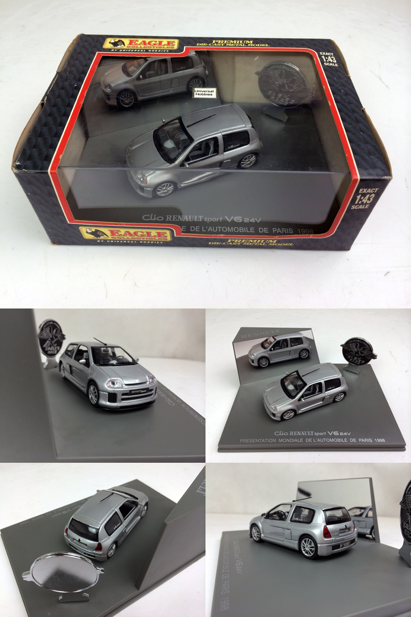 Universal Hobbies 1:43 Clio RENAULT sprot V6 24V PRESENTATION MONDIALE DE L' AUTOMOBILE DE PARIS Diecast Metal Model(China (Mainland))