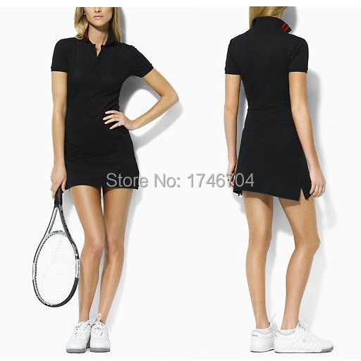Free shipping women's short-sleeved Slim sports dress casual brand 100% cotton lapel female tennis dress summer fashion WPP838(China (Mainland))