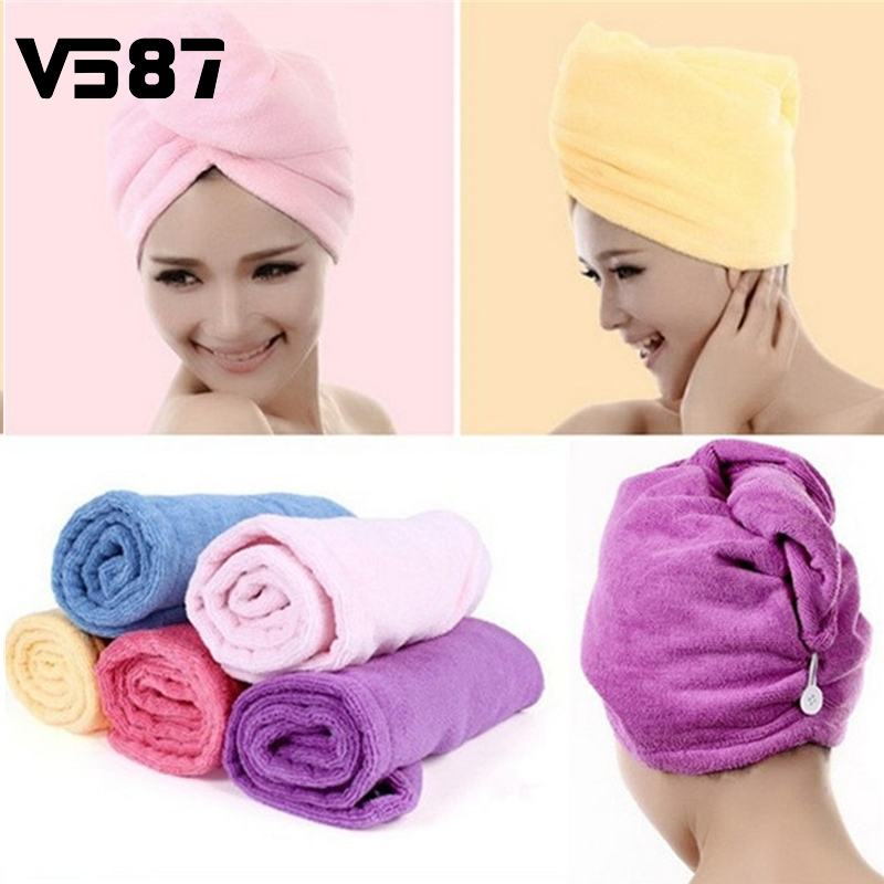 Hair Drying Towel Womens Girls Lady's Magic Quick Dry Bath Head Wrap Hat Makeup Cosmetics Cap Bathing Tool(China (Mainland))