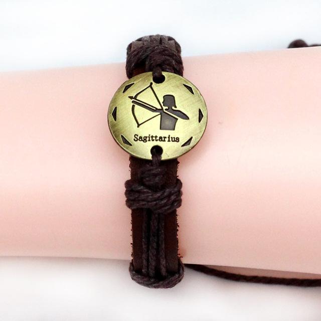 2015 мода сплава фитинги Зодиака ручной кожаный браслет пара