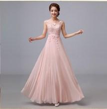 Wedding Party Dress 2014 Cheap A-Line Chiffon Lace Long Bridesmaid Dresses Formal Dress Vestido De Festa(China (Mainland))