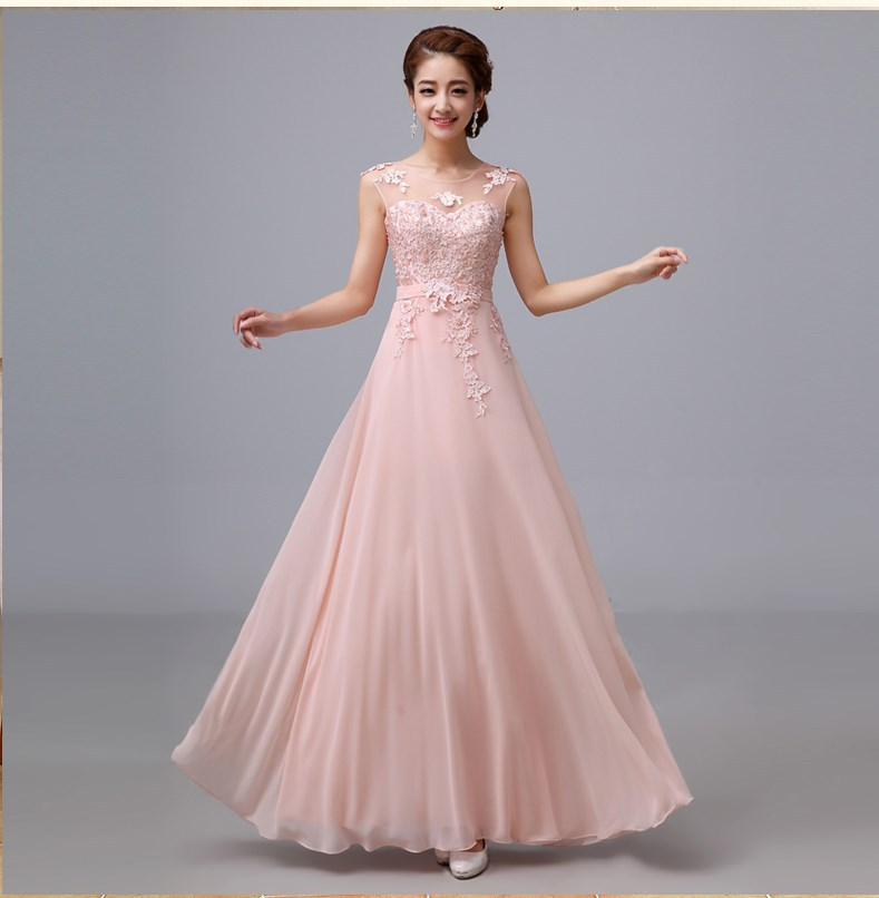 Wedding Party Dress 2014 Cheap A Line Chiffon Lace Long