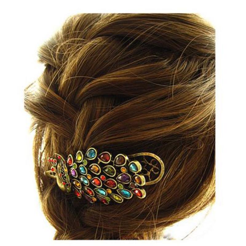 Fashion Vintage Girls Women Colorful Rhinestone Peacock Hairpin Hair Clip New(China (Mainland))