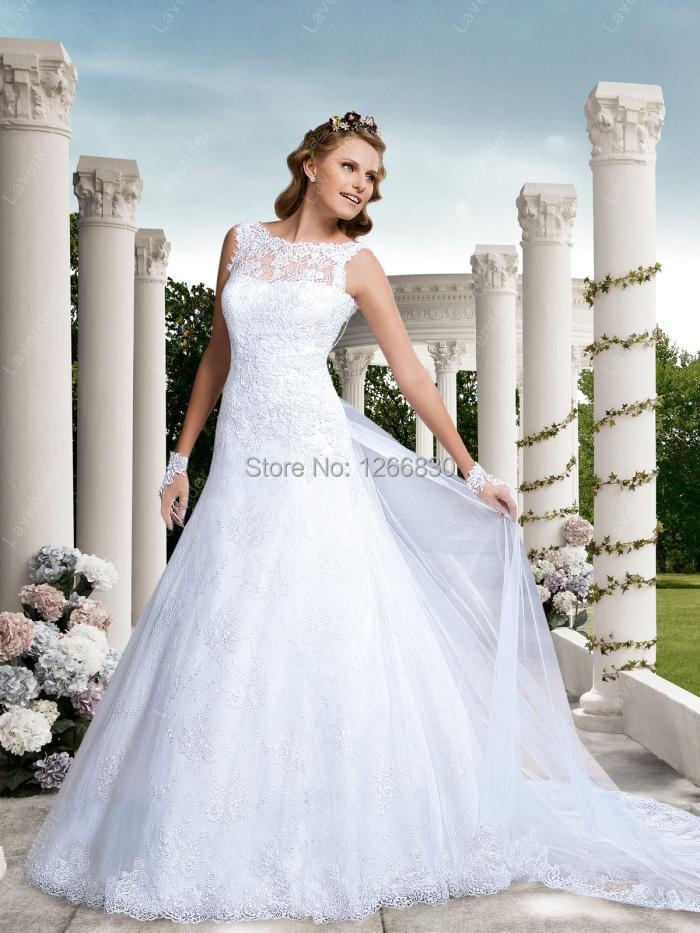 vestido novia Exquisite Wedding Gown showcases Jewel Neckline 2015 Bridal Gown Church Lovely Train New Arrival(China (Mainland))