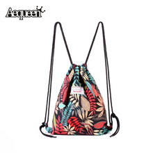 Summer Women Drawstring Backpack Leaf Pattern Oxford String Shoulder Bags Rucksack Sack Bag Student Vintage School bag Mochila(China (Mainland))