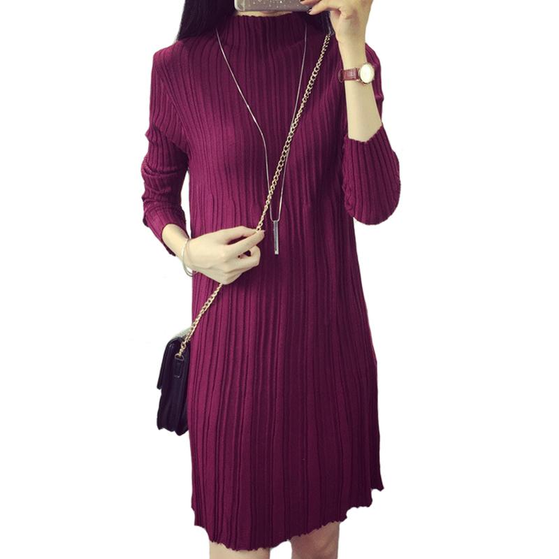 Autumn 2015 New Fashion Women Winter Dress Long Sleeve Warm Draped Dresses Thick Knitted Women Casual Dress Pleated Vestidos(China (Mainland))